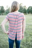 Striped Open Back Tee