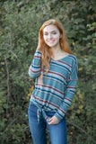 Striped Tie Front Sweater