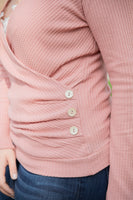 Button Detail Waffle Knit Top