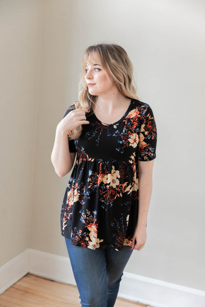 Short Sleeve Floral Babydoll Top