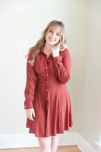 Striped Woven Midi Dress