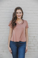 Short Sleeve Top with Cutout Neck