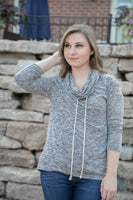 Two Tone Cowl Neck Sweatshirt