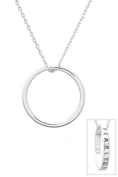 Fearless Engraved Ring Necklace