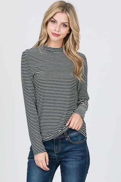 Mock Neck Striped Top-2 Colors