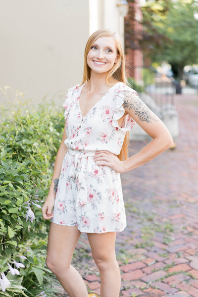 Ruffle Sleeve Floral Romper