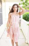 Peach Striped Midi Dress