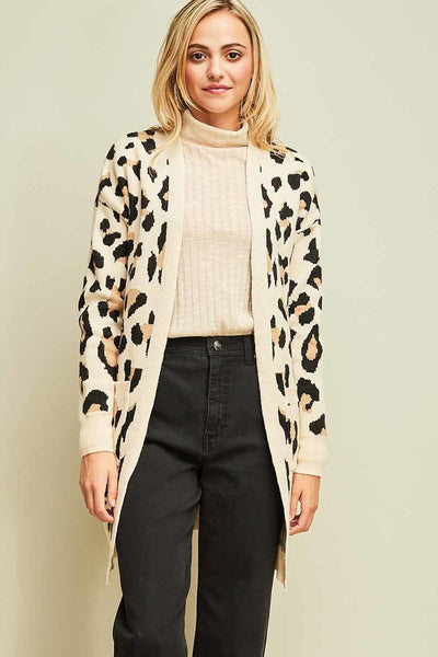 Leopard Print Pocket Cardigan