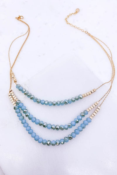 Layered Glass Beaded Necklace