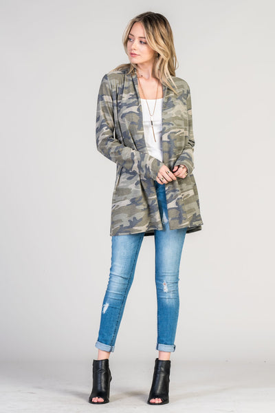 Open Front Camo Cardigan