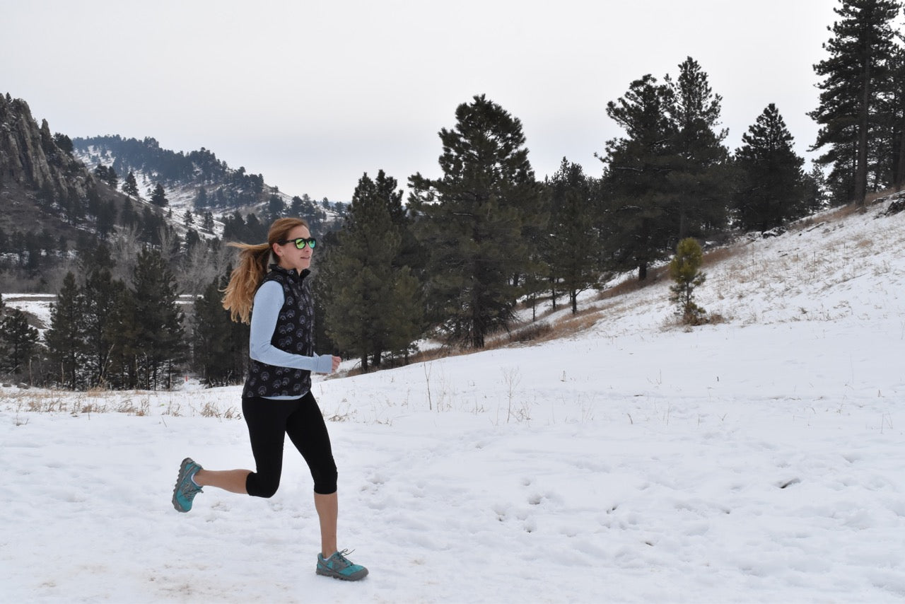 Kara Goucher on a snow covered trail run