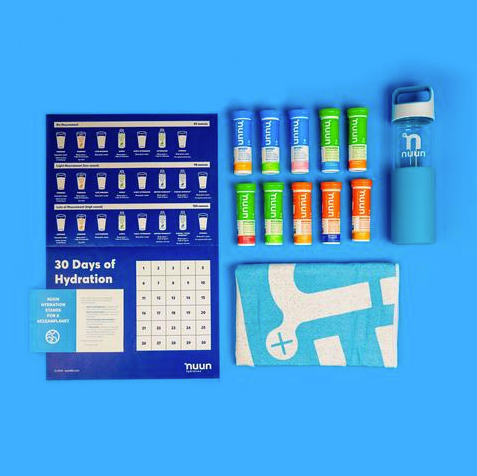 Nuun 30-day hydration challenge calendar, nuun tubes, water bottle, and towel