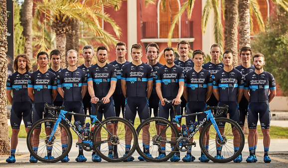 Group picture of Team Novo Nordisk, a global all-diabetes sports team of cyclists