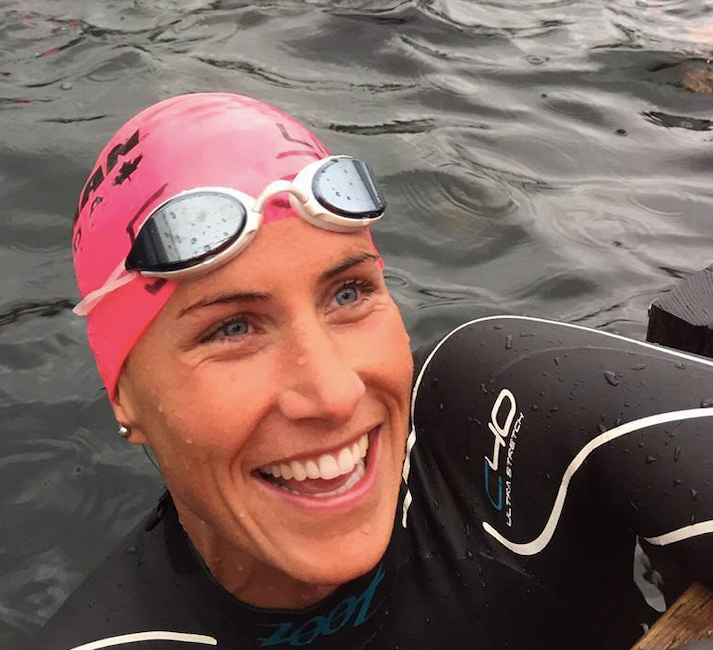 Steph Corker out in open water for a training swim