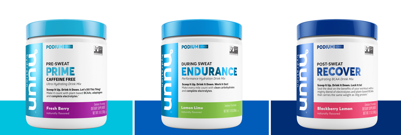 Nuun Podium Series line up: Prime, Endurance, Recover