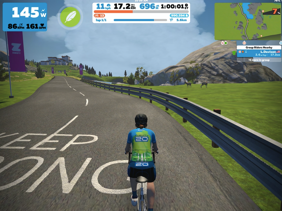 A digital rendering of Lea on her virtual Tour de France