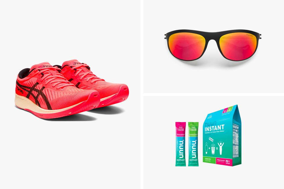 Running shoes, sunglasses, and a carton of Nuun Instant
