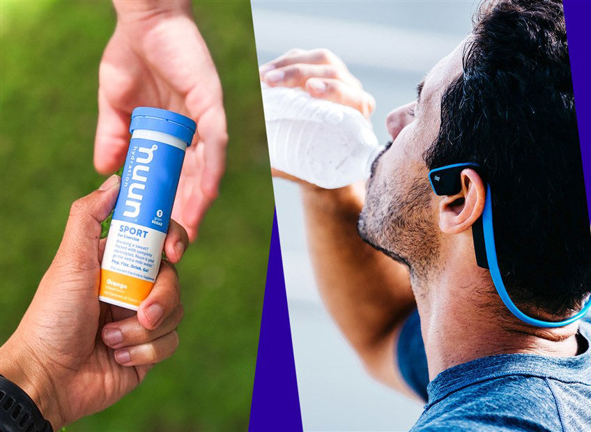 A picture of a Nuun tube, runner hydrating, and running shoes