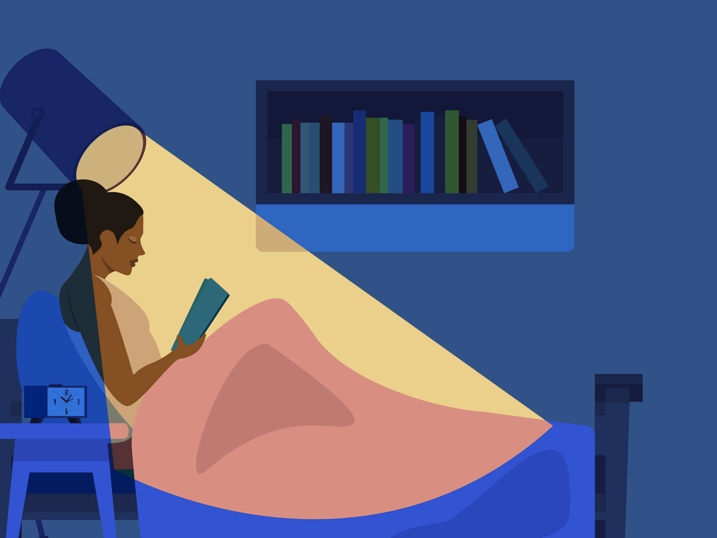 Graphic of woman reading in bed with a light shining on her