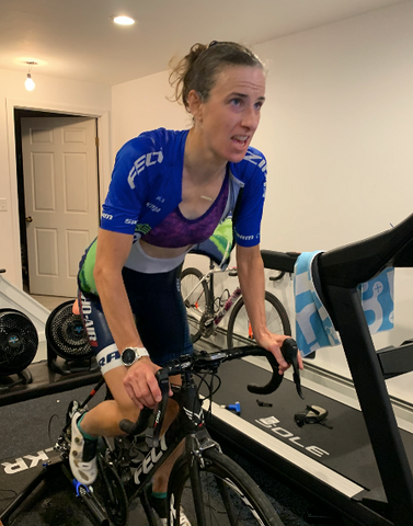 Lea rides like the wind on her stationary bike in the virtual Tour de France