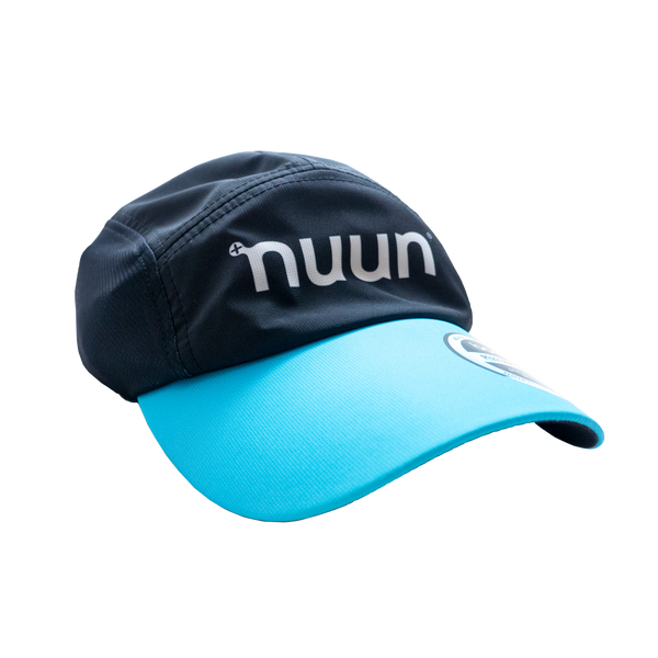 Black running hat with a white Nuun logo and blue bill