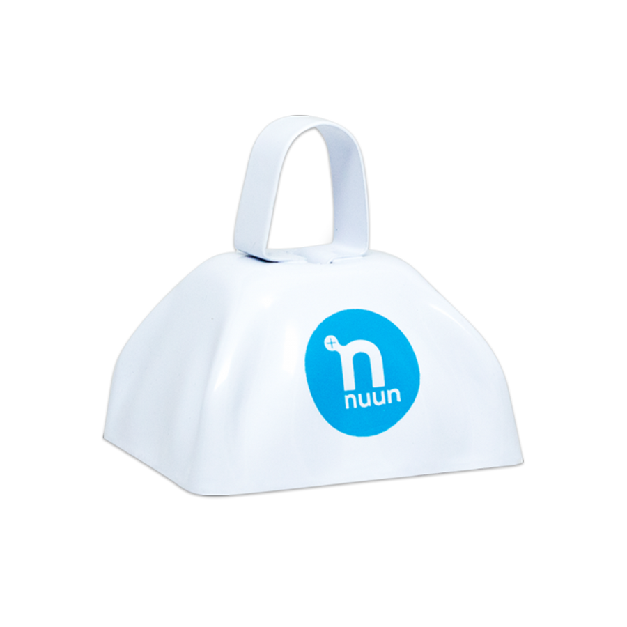 White cowbell with blue Nuun circle logo