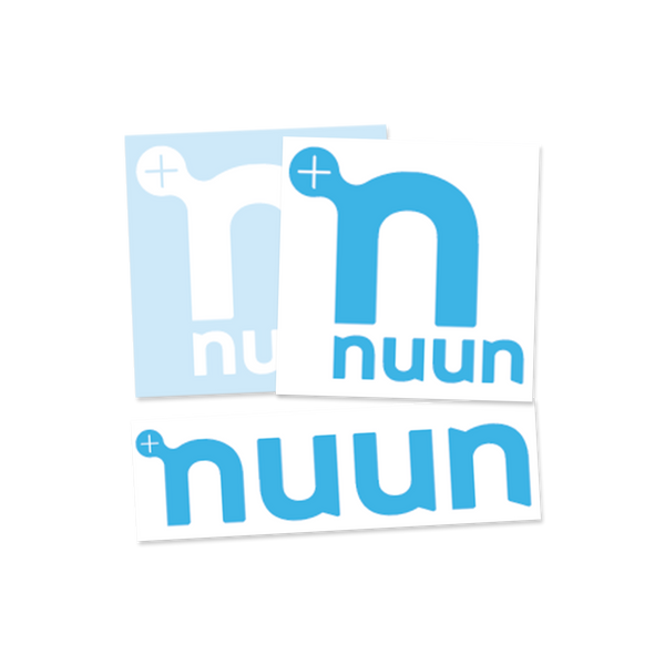 "3 Nuun logo stickers of various sizes from 2"" to 3""in white and/or blue"