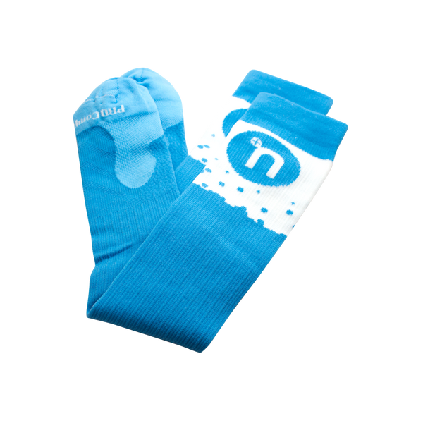 Blue compression socks with circle Nuun logo