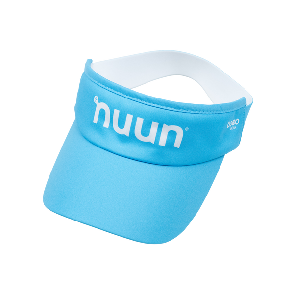 Light blue visor with white Nuun logo on the front and elastic strap