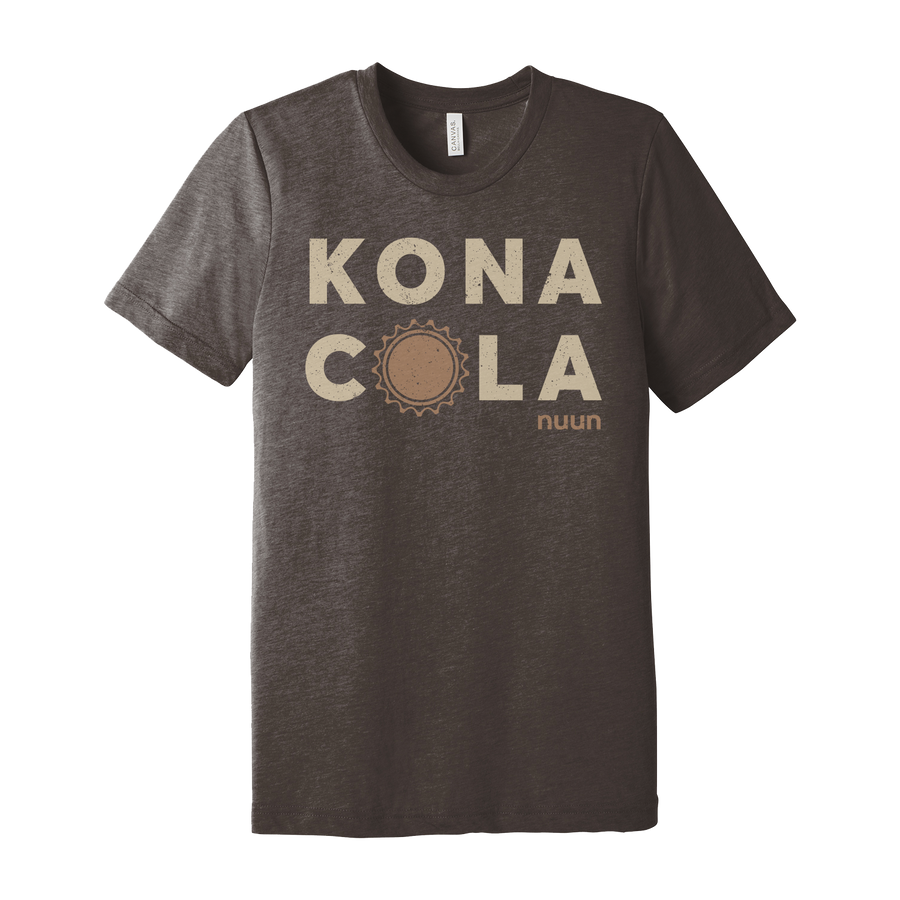Brown cotton t-shirt with off white Kona Cola text and Nuun logo below