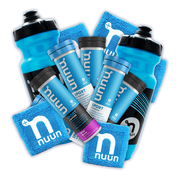 Nuun sport-top water bottles, Nuun Sport tubes, and blue Nuun wristbands