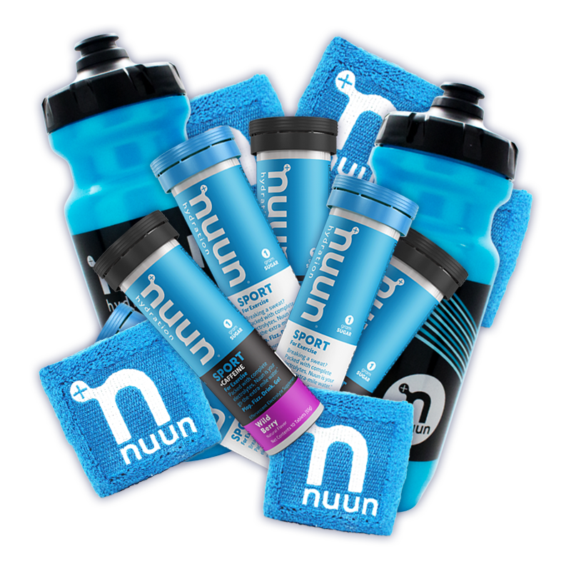 Blue water bottle with black wave, Nuun logo and leak proof sport-top water bottles, Nuun Sport tubes, and blue terry towel wristbands with white Nuun logo