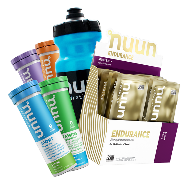 assorted Nuun flavors plus a black and blue water bottle