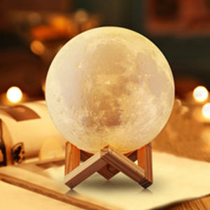 Nature Inspired Moon Decorative Lamp For Living Room Rechargeable Night Lights 16 Color Change Touch Switch With Remote Control
