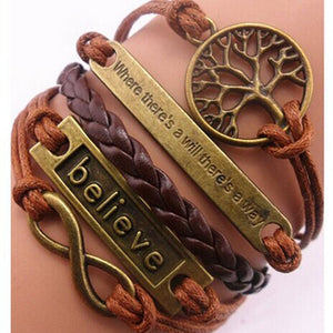 Handmade Adjustable Tree For Life Believe Multilayer Bracelet Wristband