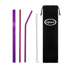 UPORS 5pcs Eco Friendly Reusable Straw 304 Stainless Steel Straw Metal Smoothies Drinking Straws Set with Brush & Bag