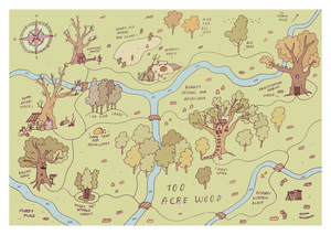 Hundred acre wood illustrated map - Hannah Detterbeck – Mapsy on 100 aker wood map, city map, drawing of a town map, gemini map, kingdom hearts 100-acre wood map, wooden story map, 100-acre wood rally map, 100-acre wood forest map, once upon a time map,