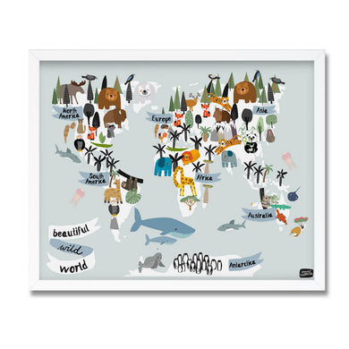 Animal world map illustrated print Anna Zatorska Mapsy framed