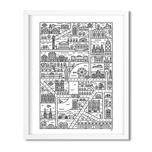 London illustrated map print framed