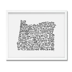 Oregon USA illustrated map print framed