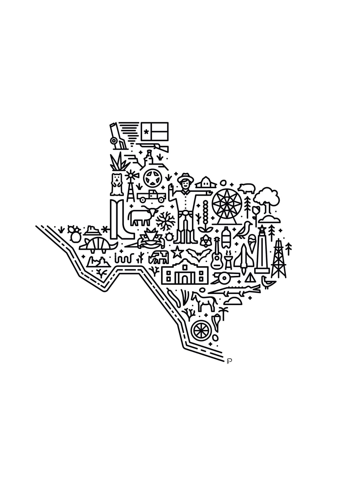 Texas USA illustrated map print