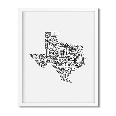 Texas USA illustrated map print framed