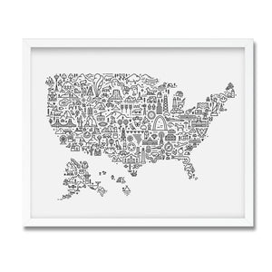 USA illustrated map print framed