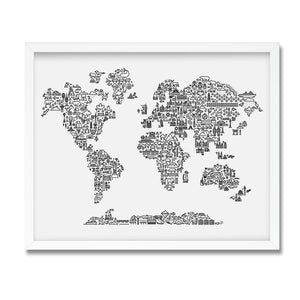 World map illustrated print framed