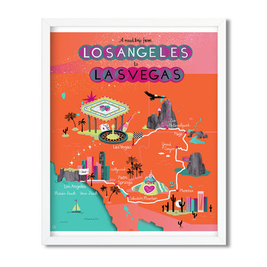 From LA to Las Vegas illustrated map - Carolin Eitel - Mapsy