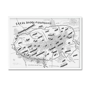 Great smoky mountains map print - Dan Bell - Mapsy