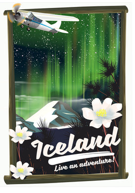 Iceland travel poster art print