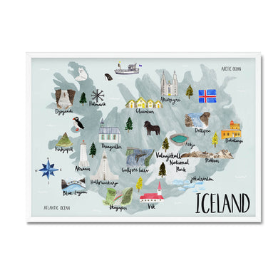 Iceland map illustrated print - Sarah Frances - Mapsy