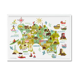 Jersey illustrated map print framed