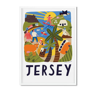 Jersey illustrated map print